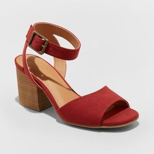 Red Microsuede Quarter Strap Stacked Heel Sandals